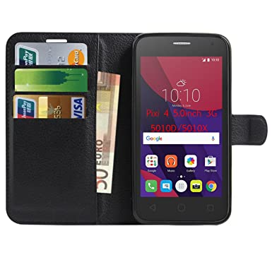 hot sale online 06997 ceaf6 Alcatel Pixi 4 5 inch 5010X Case , Anzhao Premium PU Leather Wallet Flip  Cover Case With Card Slots for Alcatel Pixi 4 (5) 5.0inch 3G OT5010D (Black)