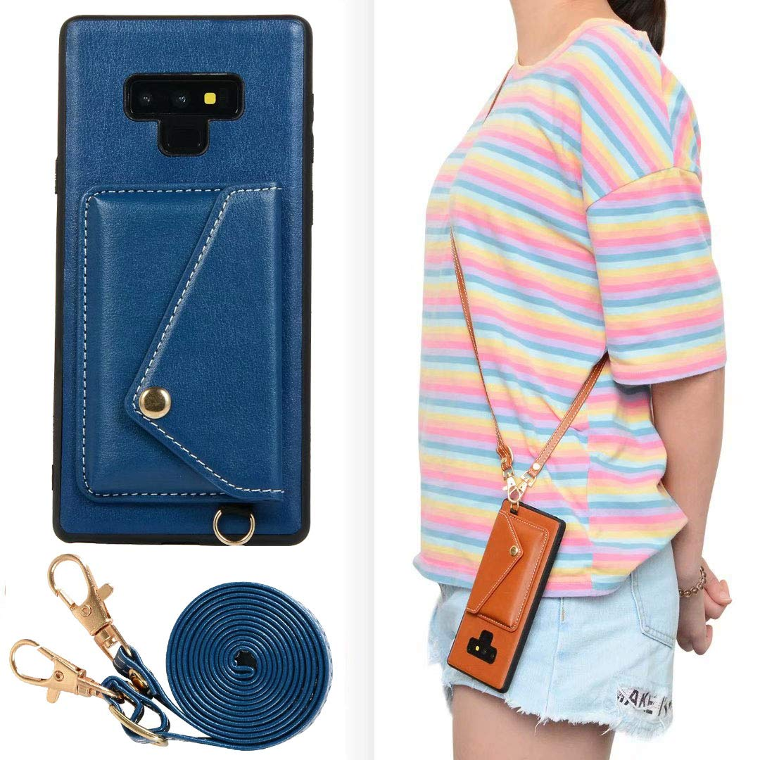 Galaxy Note 9 Case, Ranyi Protective Leather Wallet Case with Crossbody Shoulder Belt Credit Card Holder Slot Premium PU Leather Wallet Purse Case Cover for Samsung Galaxy Note 9 (2018), Blue by Ranyi