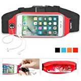 smartlle Running Belt, Best Workout Sports Belts Fitness Gear for iPhone X 8 7 6s 6 Plus Samsung Galaxy S9 S8+ mobiles, Water Resistant Running Belts Big Fanny Pack for Women & Men Hand Free [Red]