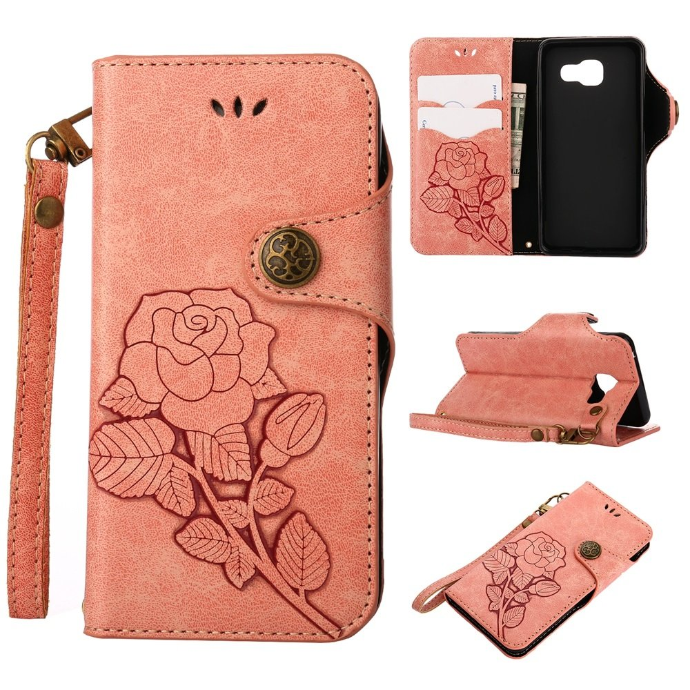 HHF Hats & Caps for Samsung Galaxy A3 (2016) A310, Luxury Retro Rose Premium PU Leather Magnetic Closure Flip Wallet Protective Case with Lanyard (Color : Pink) by HHF-Caps-21