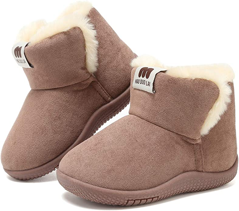 Womens Girls Kids Faux Fur Winter Warm Flat Snugg Ankle Boots Size 13 1 2 3 4