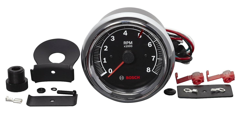 Bosch SP0F000018 Sport II 3-3//8 Tachometer Black Dial Face, Chrome Bezel