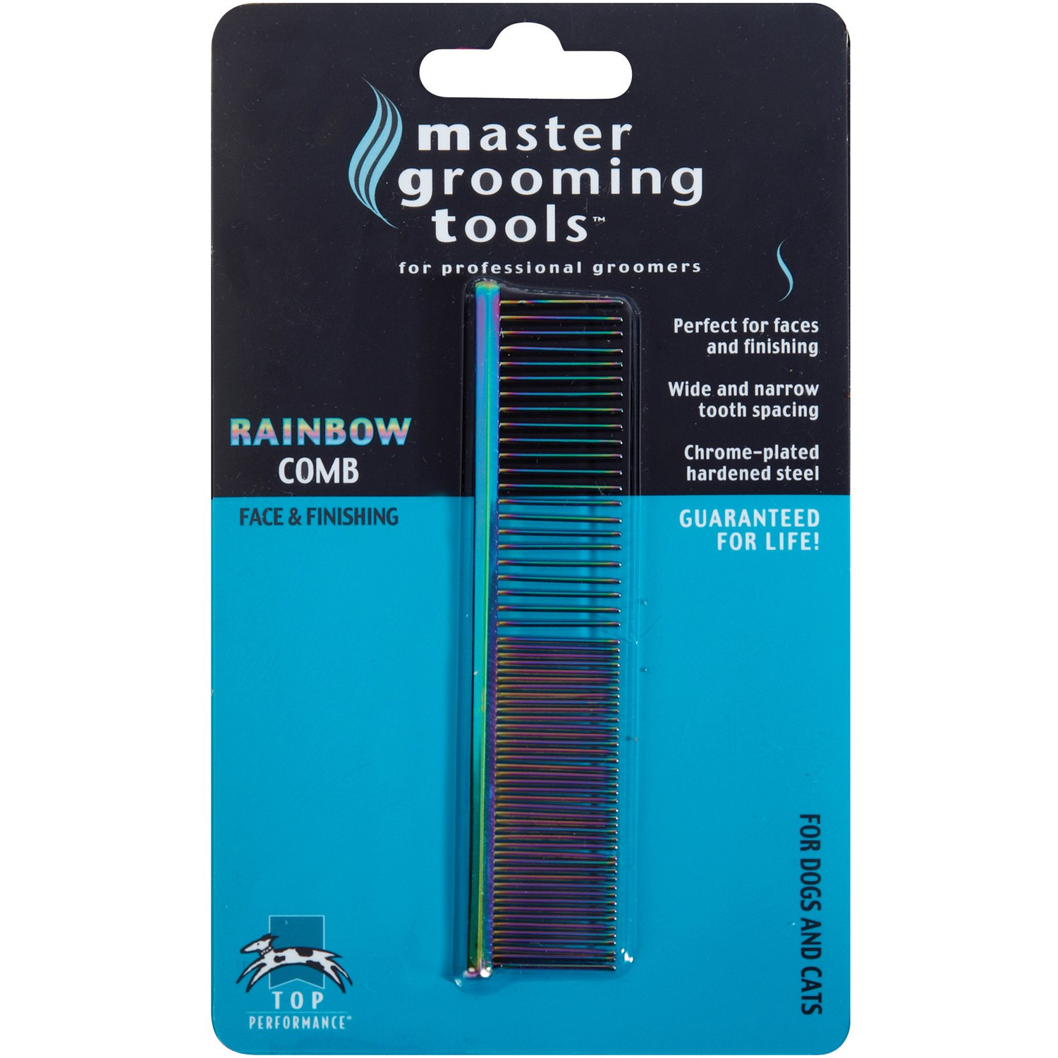 Master Grooming Tools Rainbow Greyhound Combs - European-Style Combs for Grooming Dogs - Fine/Coarse, 7½''