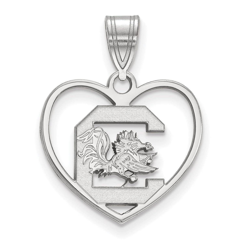 925 Sterling Silver Rhodium-plated Laser-cut University of South Carolina Heart Pendant