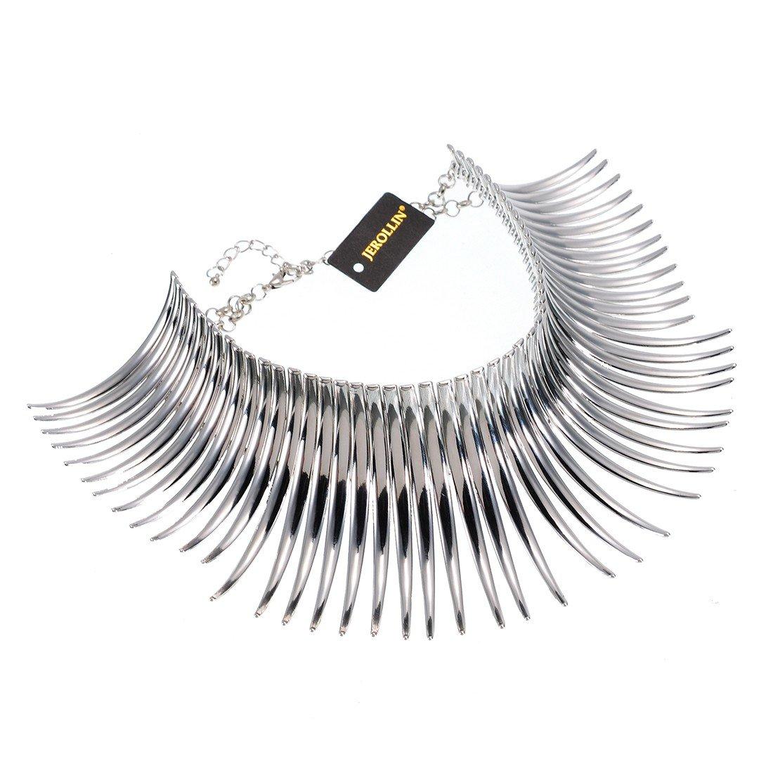 Fashion Sparkling Silver Tone Canine Shape Short Choker Collar Statement Necklace
