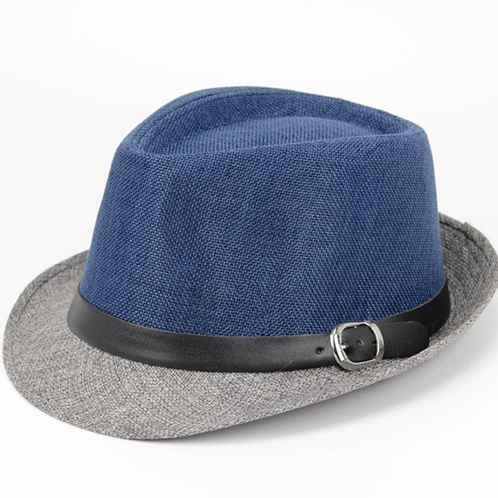 Leisial Hombre Sombrero del Jazz Paja de Lino Sombrero Estilo Británico Verano  Playa Sombrero Panamá Para Mujer Unisex d666ab6a8a1a