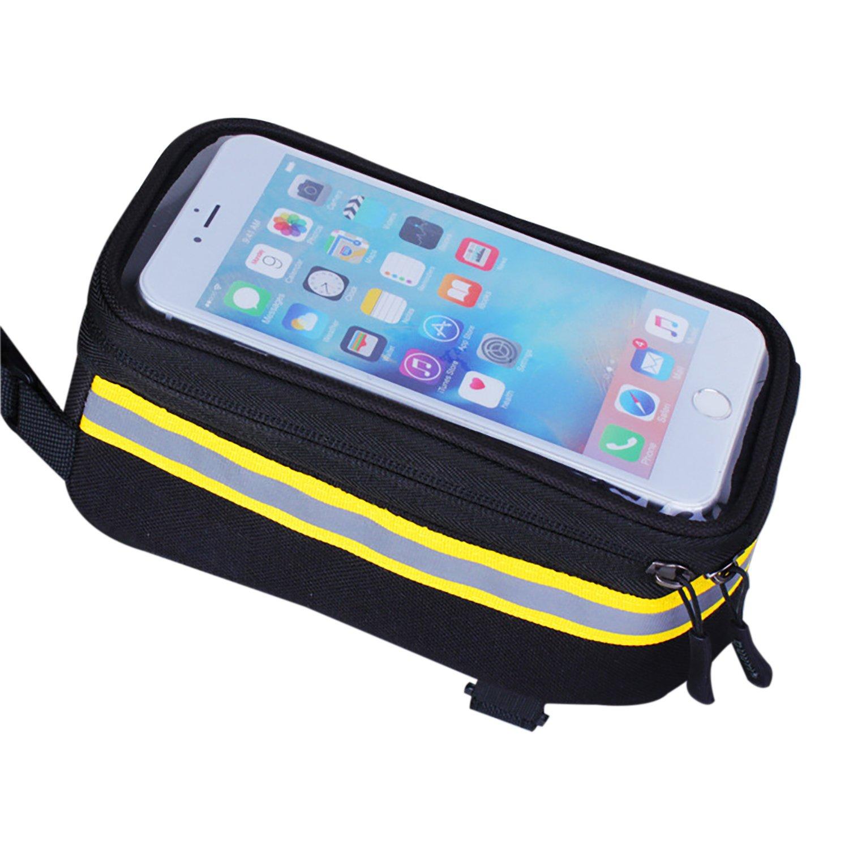 BuYiY Bike Tasche Fahrradtasche Fahrrad Front Tube Rahmen Pakete mit wasserdichtem Material Touchscreen Handy Taschen