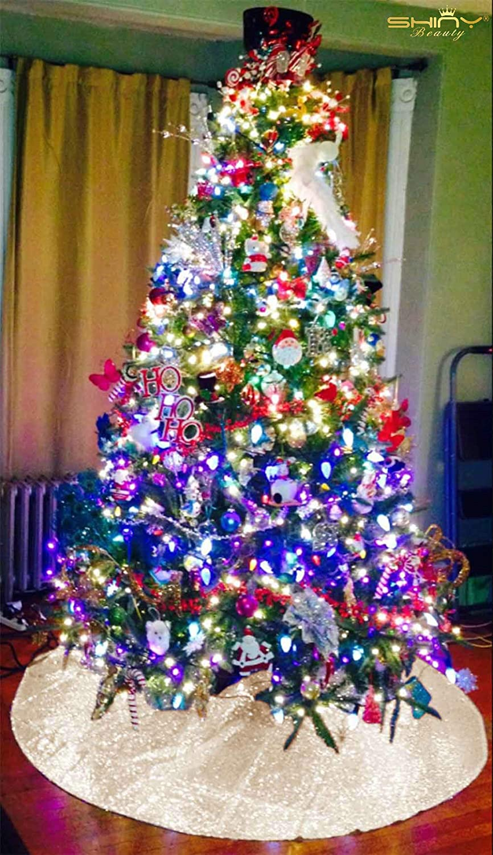 shinybeauty christmas tree skirt 24inch round aqua sequin tree skirt dinosaur twinkle twinkle little star decorations