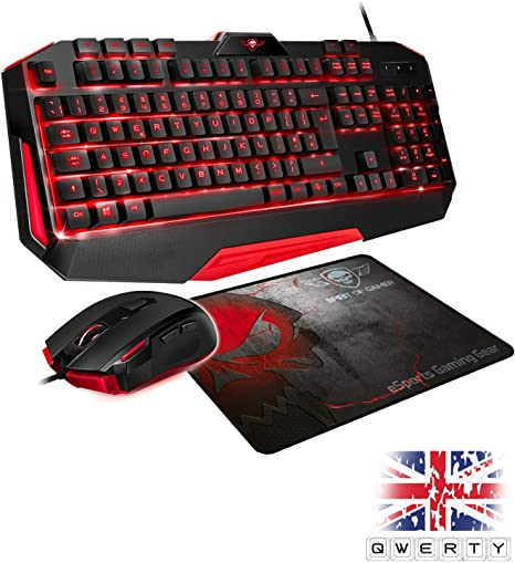 SPIRIT OF GAMER - PACK UK 3IN1 PRO MK3 QWERTY - Teclado de Jugador Retroiluminado Anti-Ghosting de 26 Teclas y 4 Macros / Ratón 7 Botones Programables ...
