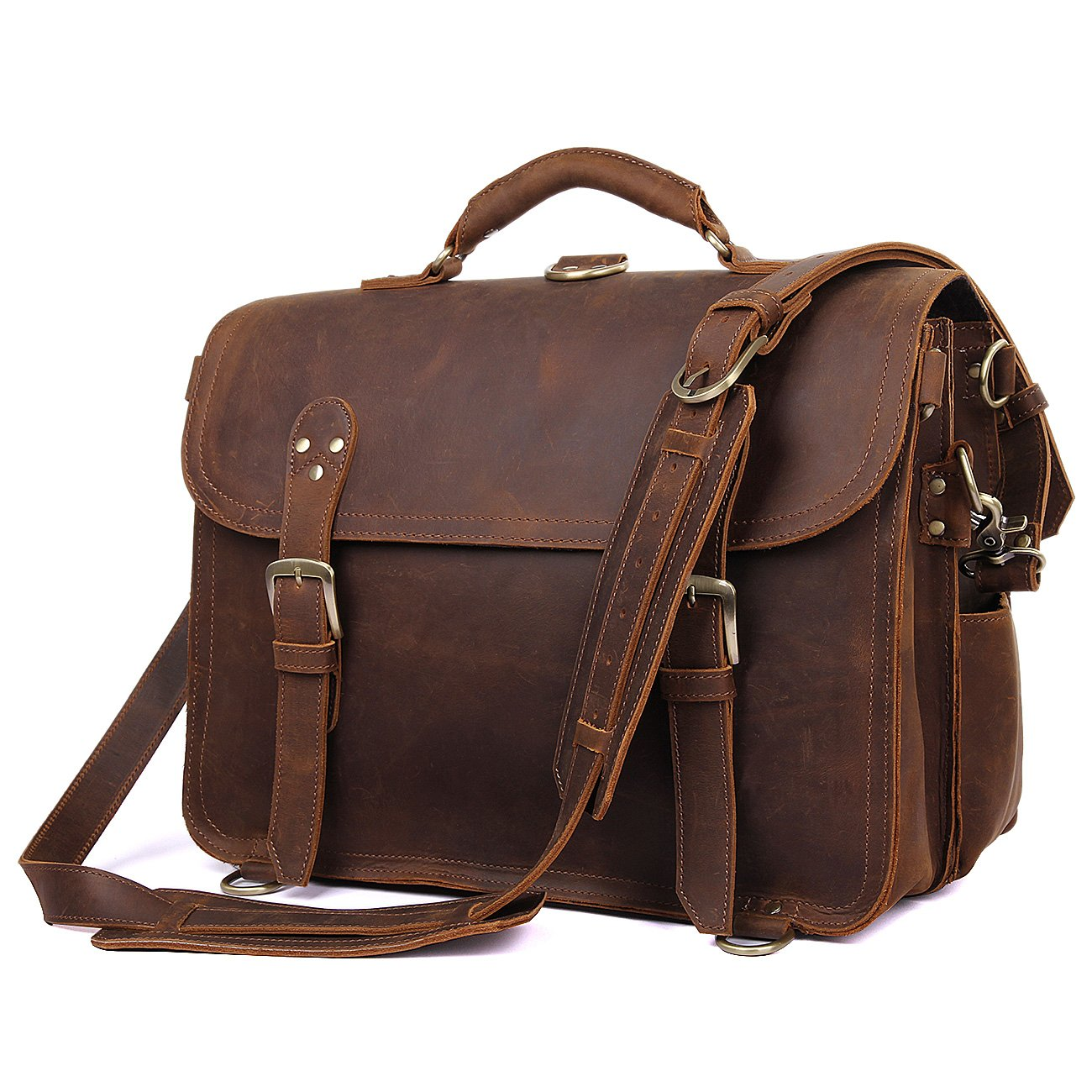 Texbo Men's Thick Cowhide Leather Messenger Bag, 16.5'' Laptop Briefcase