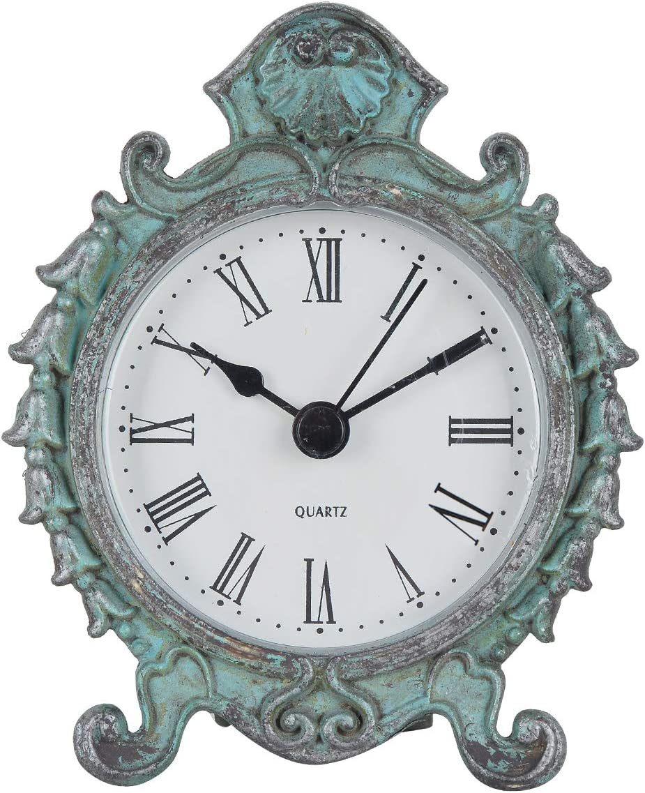 NIKKY HOME Baroque Style Pewter Quartz Small Round Table Clock with 3.12'' by 1.35'' by 3.87'', Dark Green