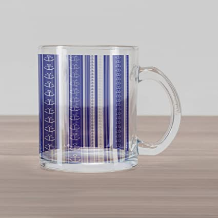 dbd76a8ff1a Ambesonne Striped Glass Mug, Nautical Anchor Icons and Tape Motifs Sea Life  Contrast Strips Maritime