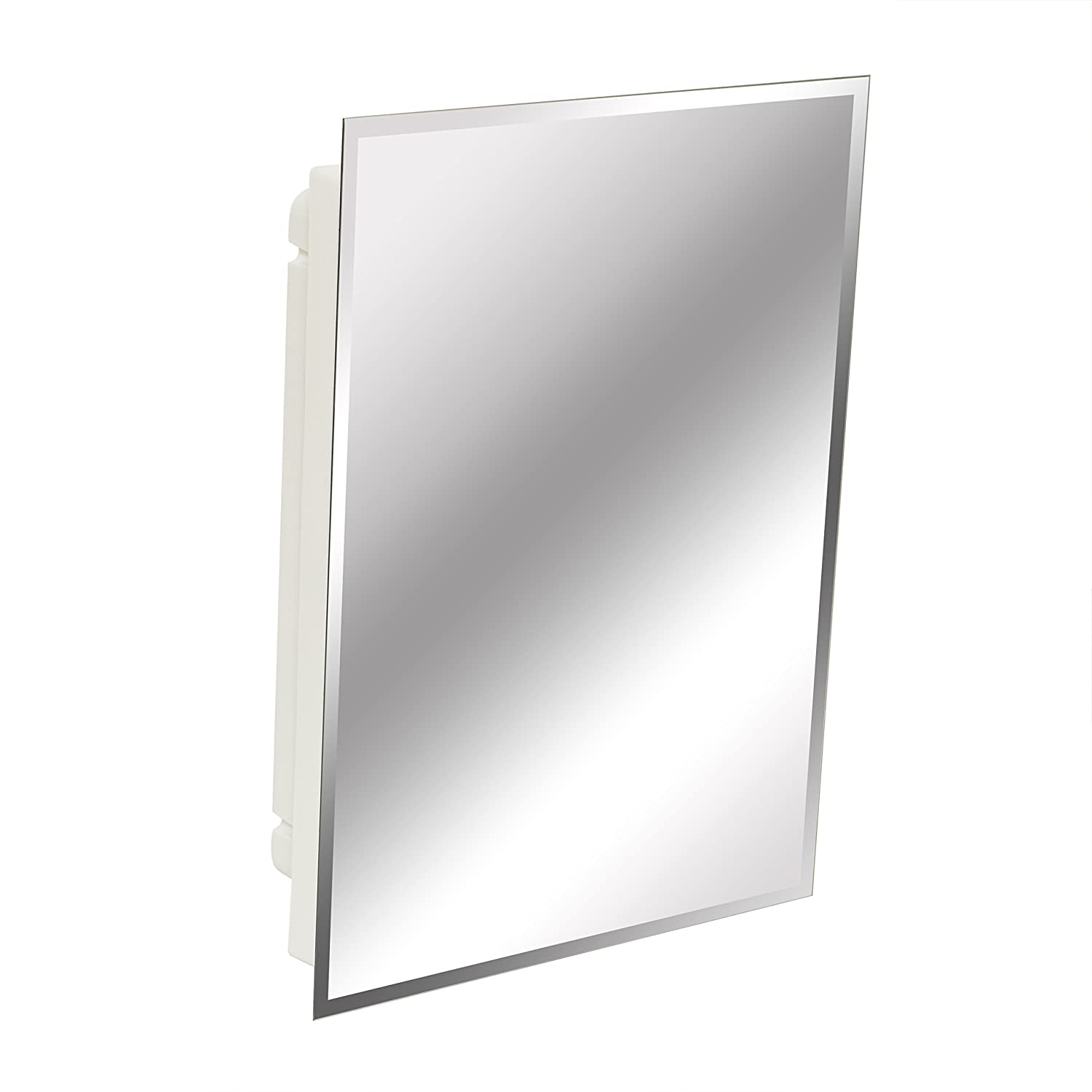 Medicine cabinet with side lighting - American Pride 9622wbar12 Recessed Frameless Beveled Polished Edge Mirror Medicine Cabinet 16 X 22