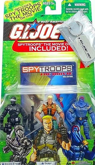 SNAKE EYES DUKE COBRA COMMANDER GI Joe Action Figure 3 Pack VHS spy troops NEW