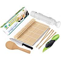 Chefoh All-In-One Sushi Making Kit | Sushi Bazooka, Sushi Mat. & 2 Pair Bamboo Chopsticks. Accodo Slicer. Sushi Knife. Bamboo Rice Paddle. Set | DIY Rice Roller Machine Food Grade Plastic Parts Only