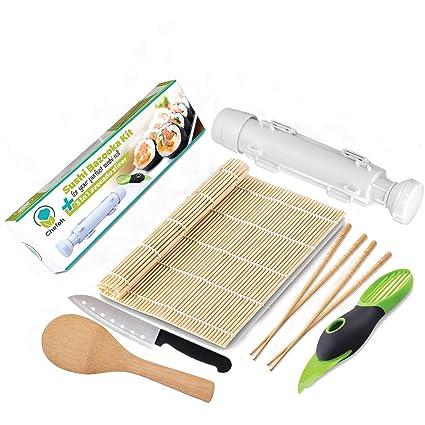 Chefoh All In One Sushi Making Kit Sushi Bazooka Sushi Mat 2 Pair Bamboo Chopsticks Accodo Slicer Sushi Knife Bamboo Rice Paddle Set Diy