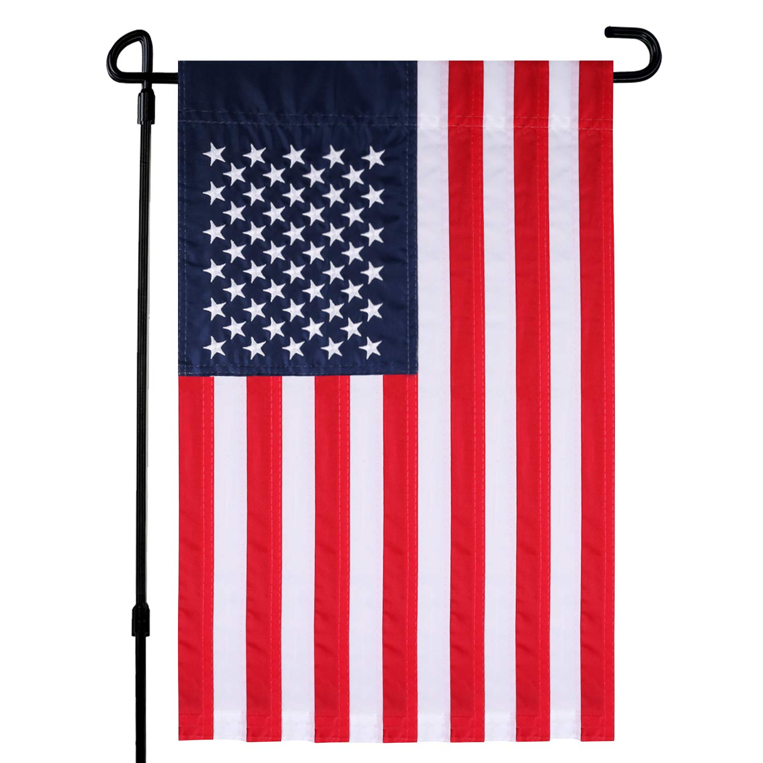 HOOSUN USA Garden Flag, American Garden Flag Embroidered Stars Classic United States Garden Flags Sewn Stripes & Double Stitched 18 x 12 Inch (USA-Embroidered Stars Flag)