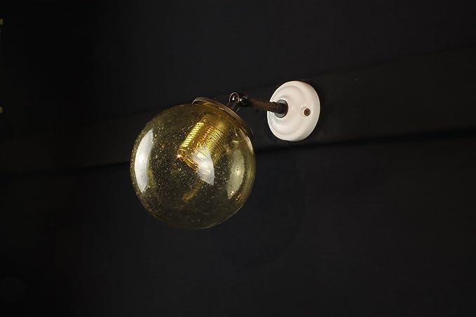 Applique lampada da parete faro faretto con sfera in vetro