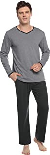 Abollria Mens Pyjamas Set Long Sleeve Top & Long Bottoms Pants PJ Set/Nightwear/Sleepwear/Loungewear