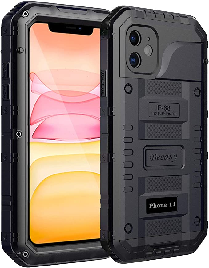 Beeasy Coque iPhone 11 Antichoc,IP68 Étanche Protecteur d'Écran Intégré Qualité Militaire Robuste Résistant Metal Antipoussière Anti Pluie Neige Étui ...