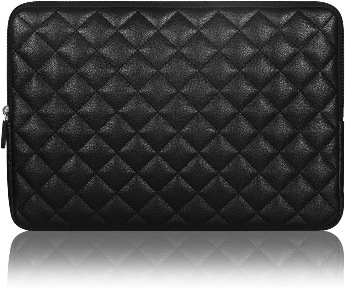 Arvok 15~15.6 inch Laptop Sleeve Water Resistant & Shock Resistant Super Protection for Notebook/Chromebook/Ultrabook PC Diamond Foam Splash PU Leather Sleeve Case Travel Bag, Black
