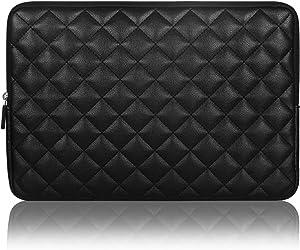 Arvok 15~15.6 inch Laptop Sleeve Water Resistant & Shock Resistant Super Protection for Notebook/Chromebook/Ultrabook PC Diamond Foam Splash PU Leather Sleeve Case Travel Bag, Black