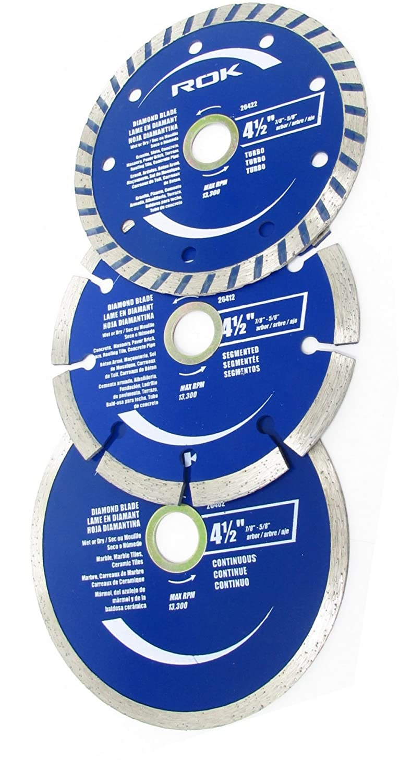 "ROK 3Pk 4 1/2"" Diamond Blade Set - Fits 7/8"" or 5/8"" Arbor Angle Grinders"