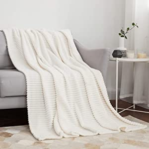 MIULEE Fleece Throw Blanket with Stripe Pattern Fuzzy Flannel Cream White Blanket for Couch Plush Warm Cozy Bed Blanket Boho Decor for Bed Sofa Chair Twin Size 60