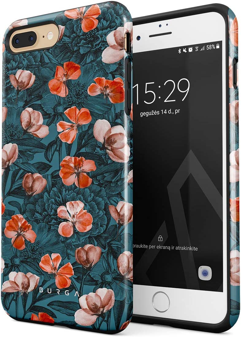BURGA Phone Case Compatible With iPhone 7 PLUS / 8 PLUS - Red Poppies Flower Bouquet Floral Print Pattern Fashion Cute For Women Heavy Duty Shockproof Dual Layer Hard Shell + Silicone Protective Cover