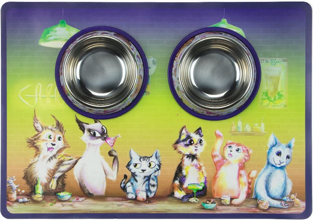 Weebo Pets 3-in-1 Cat Food & Water Bowls with Mat Set - Cat Tales: The Regulars Premium 4 oz. Stainless Steel Dishes with Food-Grade Silicone Feeding/Litter Box Mat