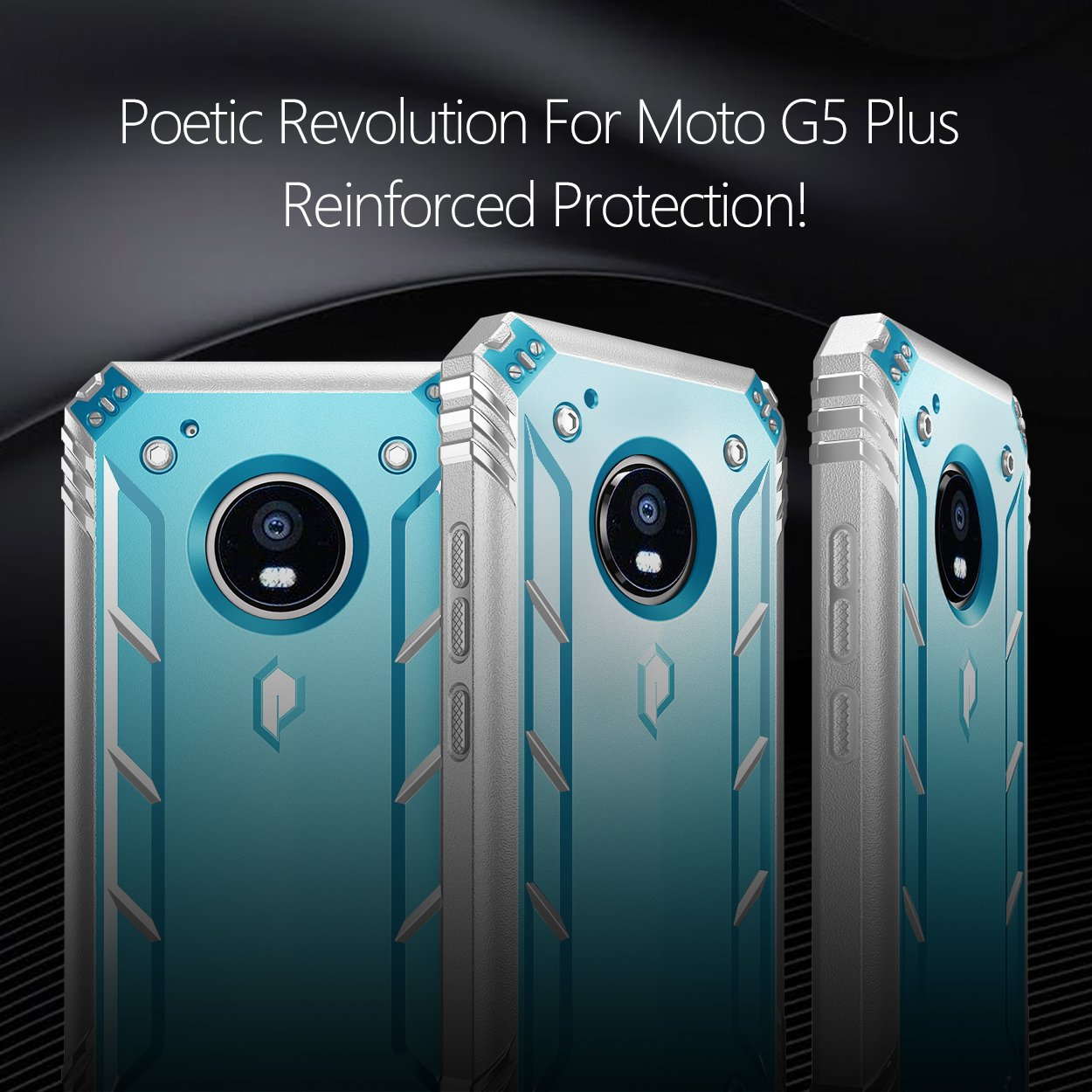 Poetic Revolution Moto G5 Plus Rugged Case with Hybrid Heavy Duty Protection and Built-in Screen Protector for Motorola Moto G5 Plus (2017) Blue/Gray