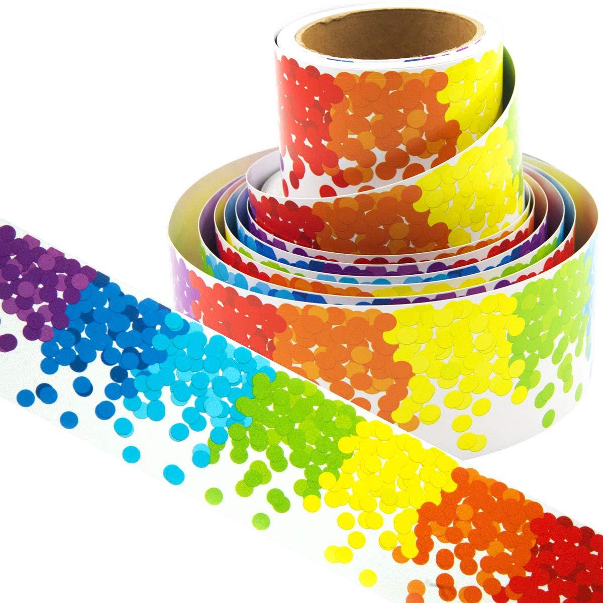 Bulletin Board Borders Rainbow Confetti-Themed Border for Classroom Decoration 36ft