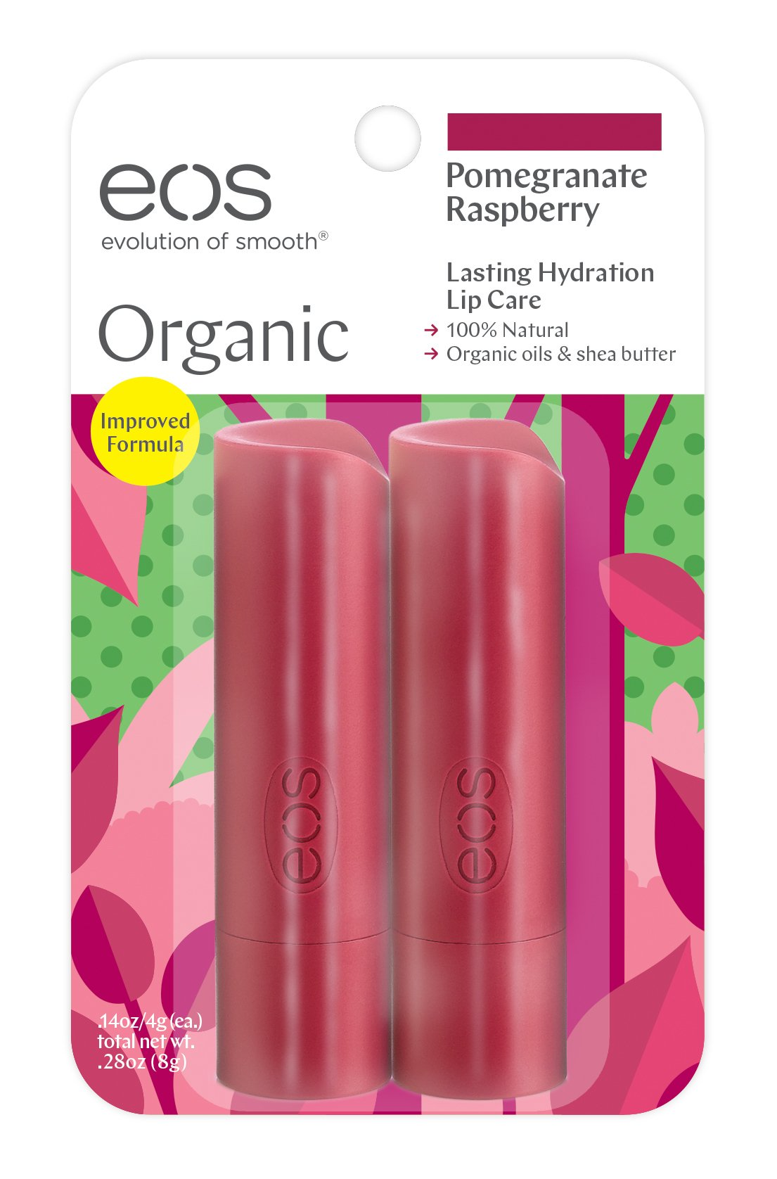 EOS 2 Piece Organic Lip Balm Stick, Pomegranate Raspberry, 0.28 Ounce