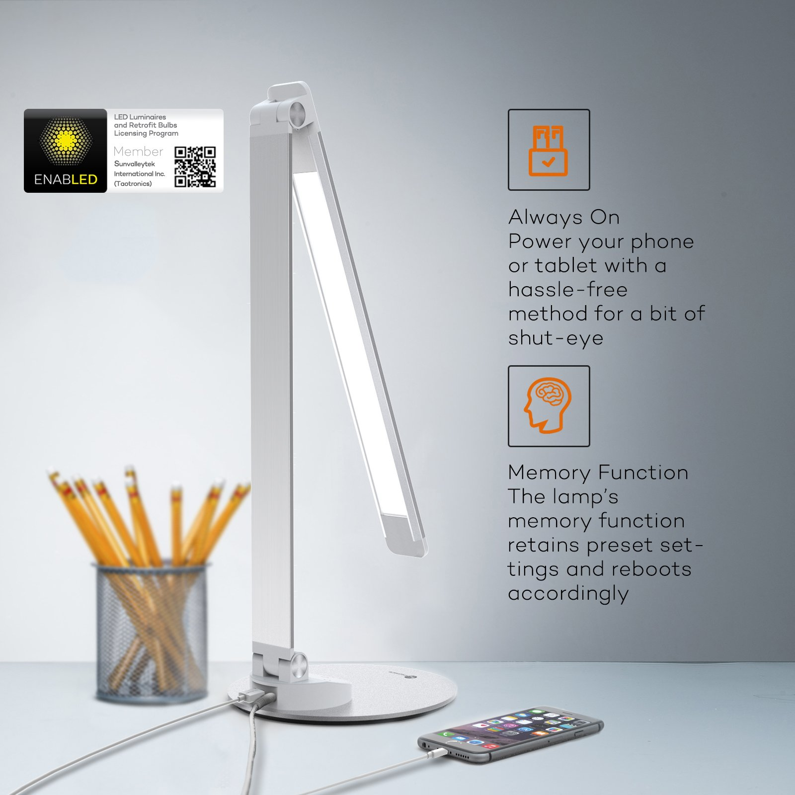 TaoTronics LED Desk Lamp with USB Charging Port, Eye- care Dimmable Lamp, 5 Color Temperatures with 5 Brightness Levels, Touch Control, Metal, Official Member of Philips EnabLED Licensing Program by TaoTronics (Image #5)