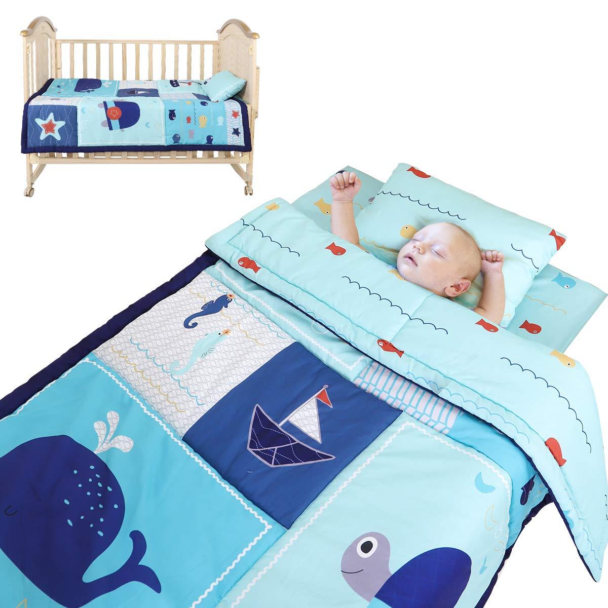 Unichart Three-Piece Bed Set for Baby Children Kids Cotton Bed Set