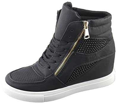 fcd258a6bf6c Womens Ladies Girls Diamante Wedge Heel Ankle High Top Trainers Sneakers  Boots Shoes  Amazon.co.uk  Shoes   Bags