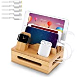 Bamboo Charging Station for Multiple Devices - Wooden Charging Station Organizer Cell Phone Dock Desk Organizer for Apple - B