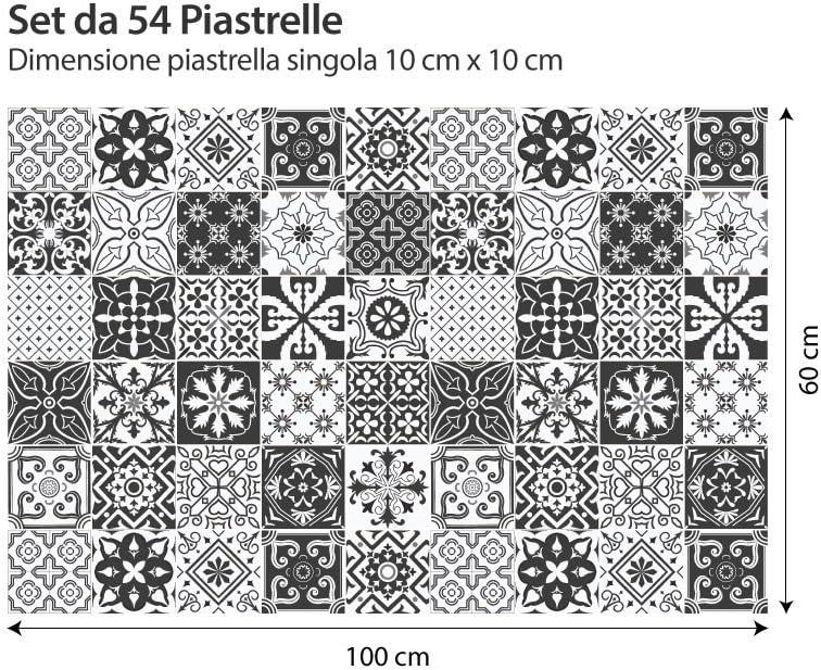 Adhesivo para Azulejos 20x20 cm Piezas 24 Stickers Azulejos Collage de Azulejos PS00008 Negro y Blanco Floral Adhesivo Decorativo para Azulejos para ba/ño y Cocina