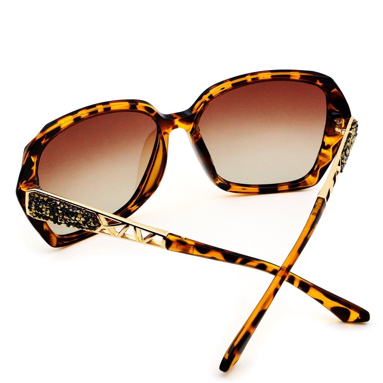 Leckirut Women Shades Classic Oversized Polarized Sunglasses 100% UV Protection Eyewear Leopard by LECKIRUT (Image #4)