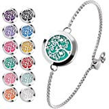 Essential Oil Diffuser Bracelet Stainless Steel Aromatherapy Locket Adjustable Bracelet Set with 24 Refill Pads (Tree of…