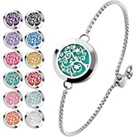 Essential Oil Diffuser Bracelet Stainless Steel Aromatherapy Locket Adjustable Bracelet Set with 24 Refill Pads (Tree of Hope)