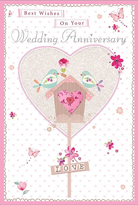Dorado aniversario de boda Tarjeta de felicitación – Casa para pájaros 7,5 x 5,25
