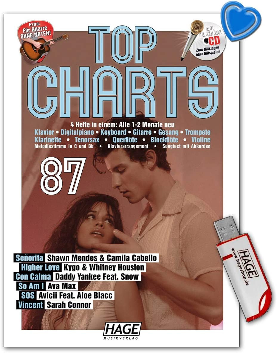TOP CHARTS 87 Songbook mit CD Noten HAGE EH 3983 Shawn Mendes /& Camila Cabello