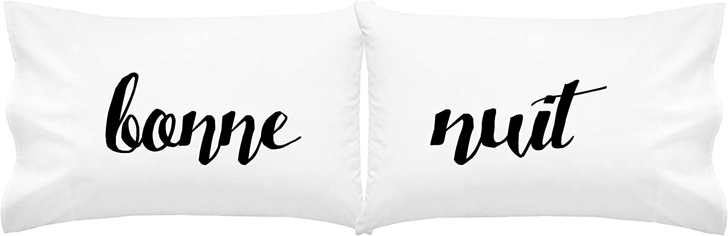 Bonne Nuit pillow cases in black and white