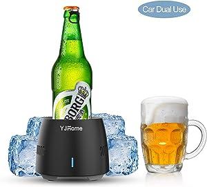 Smart Fast Cooler Cup Mug YJHome Desktop Mini Refrigerator 350ML Beverage Cooler Electric Cooling Cup US Plug with Food-grade Aluminum Mug For Desk Coffee Beer Cola Water Wine Drink