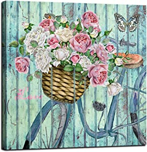 Canvas Wall Art Vintage Bicycle Flowers Theme Painting Butterfly Picture Nature Prints Abstract Artwork Framed for Bathroom Living Room Kitchen Dinning Room Corridor Home Office Decor, 14