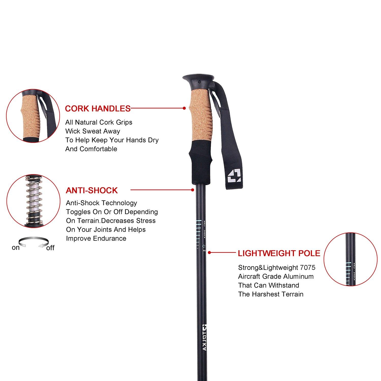 TOLKA Trekking Poles Aircraft Grade Aluminum 7075 External Lock Walking Sticks Anti-shock Cork Handle Quick Lock Hiking Canes and Walking Sticks With Air Ventilated Extra Padded Straps