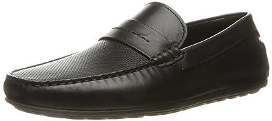 0894c296bbe HUGO by Hugo Boss Men s Travelling Dandy Moccasin in Black Leather Slip-On  Loafer