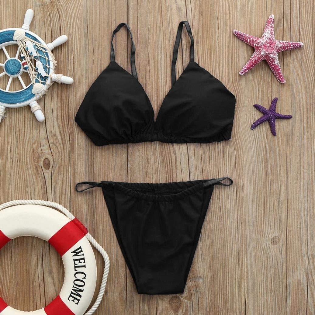 ZHRUI Conjuntos de Bikini de Tanga de Cintura Alta con Tanga de Bandeau para Mujeres, Empuja hacia Arriba el Traje de baño Acolchado Traje de baño para ...