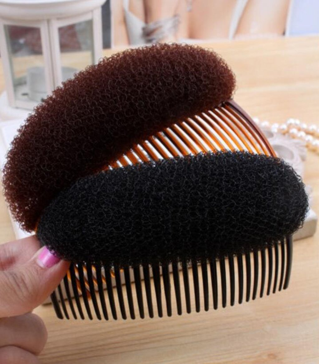 MagiDeal Fashion Hair Styler Volume Bouffant Beehive Shaper Bumpits Bump Foam W/Hair Comb - Coffee STK0155001099